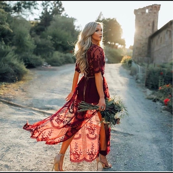 Dresses & Skirts - Stunning Red Deep V Neckline Lace Dress